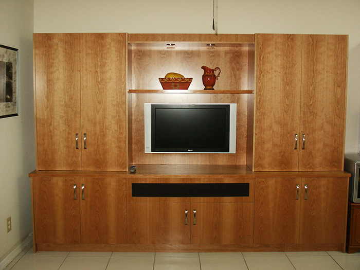 Natural Cherry Matched Veneer Media Unit