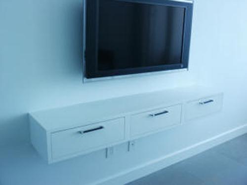 Glossy White Lacquer Media Shelf