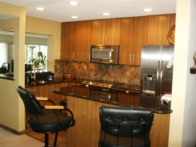 Teak Veneer Kitchen with Clear Satin Finish