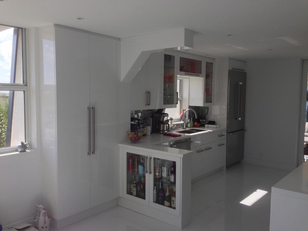 High Gloss Acrylic and Obeche Veneer Kitchen