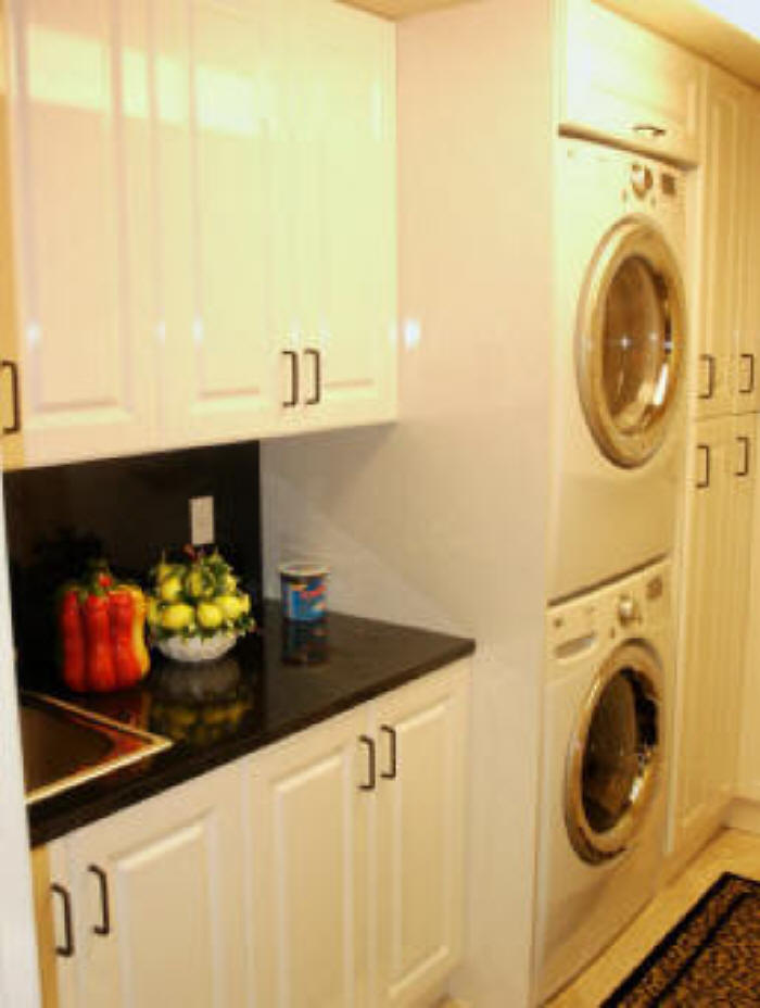 White Thermofoil Laundry Room