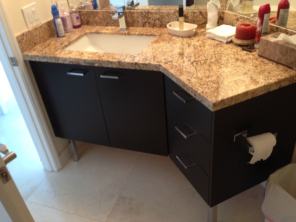 Stained Oak Angled Bath Vanity