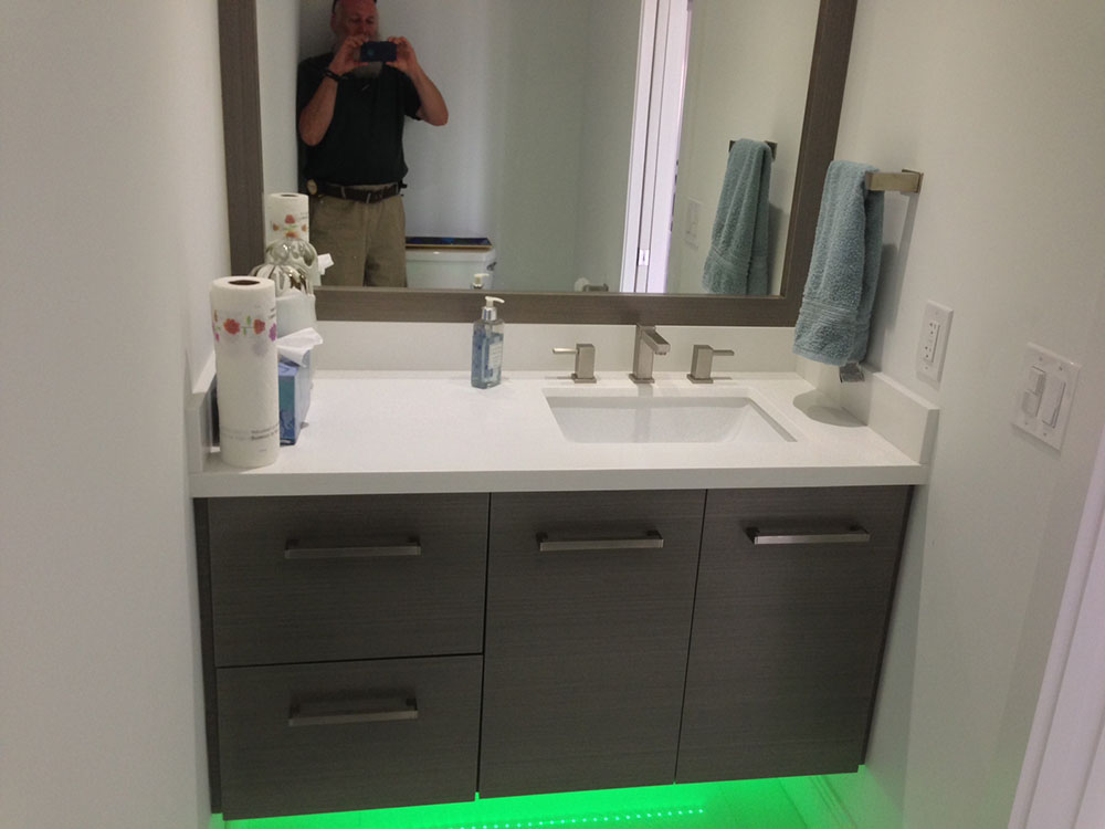 Grey Obeche Veneer Floating Bath Vanity/Matching Mirror And Led Lighting