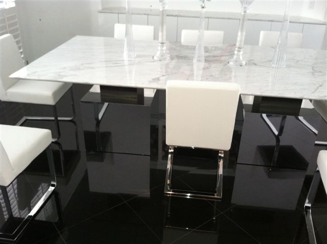 Marble Table Top With Mirror And Laminate Bases