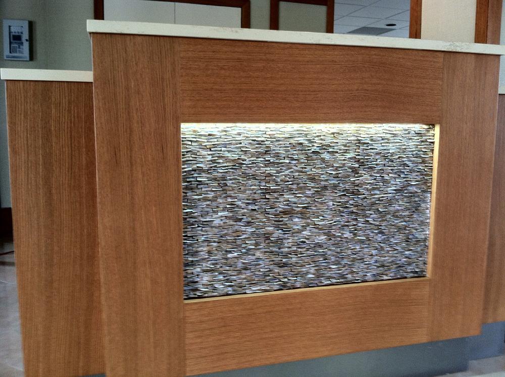 Corinthian Condo Lobby Renovation Stained White Oakseashell Veneer Panels