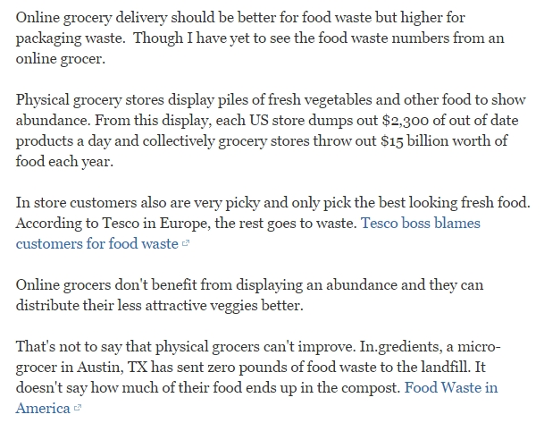 How do online grocery delivery services affect the percent of food that goes to food waste