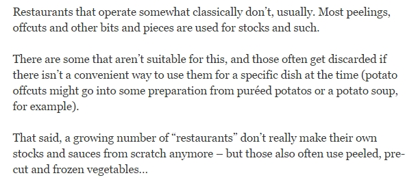 Do restaurants discard vegetable pieces that remain after they are cut into various shapes like allu