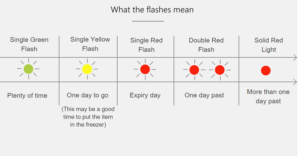 Diagram: What the FoodMinder Flashes Mean