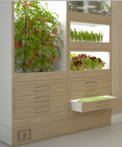 A bookshelf sized growing station for small scale crop production
