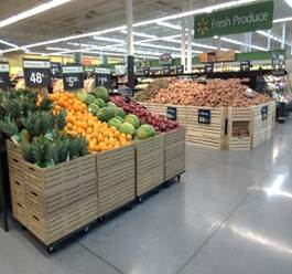 Reusable plastic containers modeled after wood crates will soon be utilized nationally in Walmart
