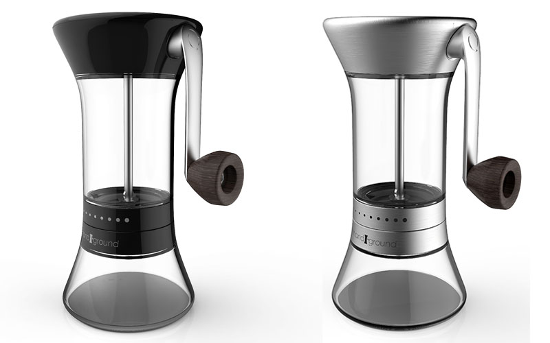 Black and nickel finishs of Handground manual coffee grinder