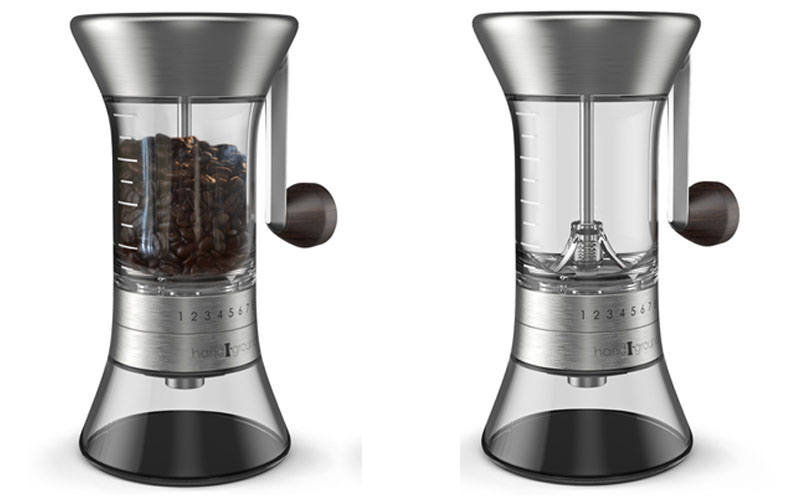 Nickel finish of Handground manual coffee grinder