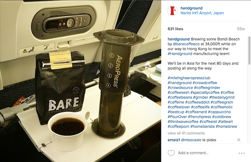 Aeropress coffee being made on airplane