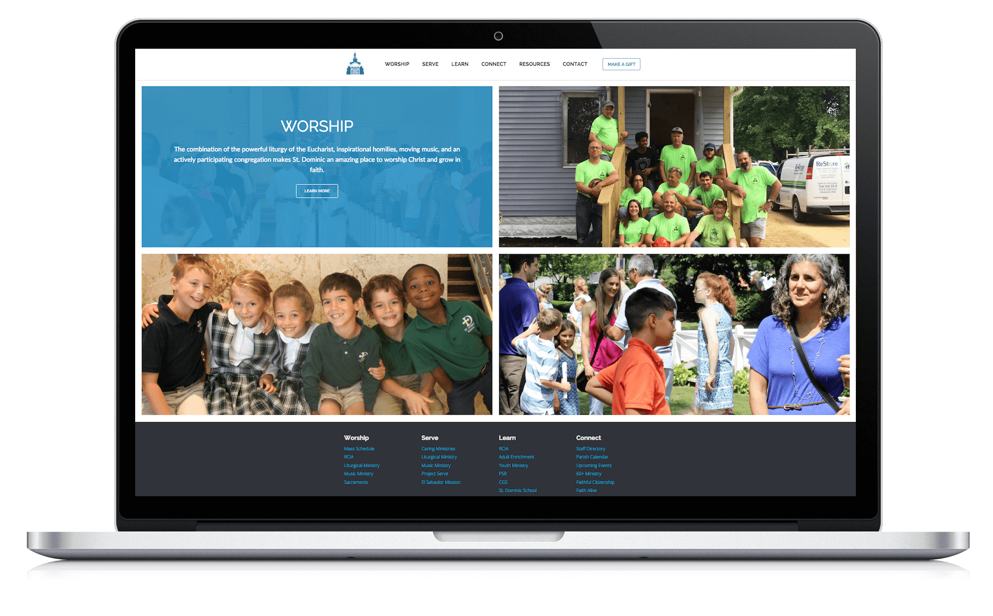 Image of responsive web design case study by Quetra Creative for St. Dominic Macbook Pro
