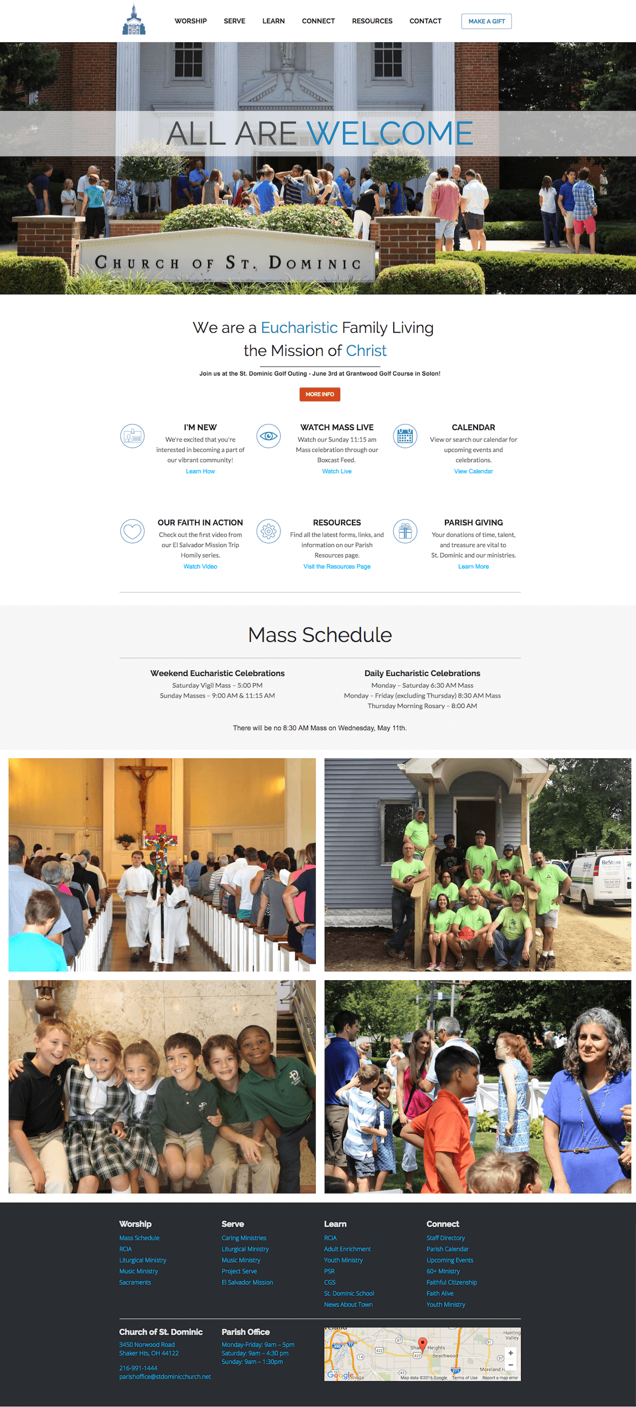 Image of responsive web design case study by Quetra Creative for St. Dominic Full Page