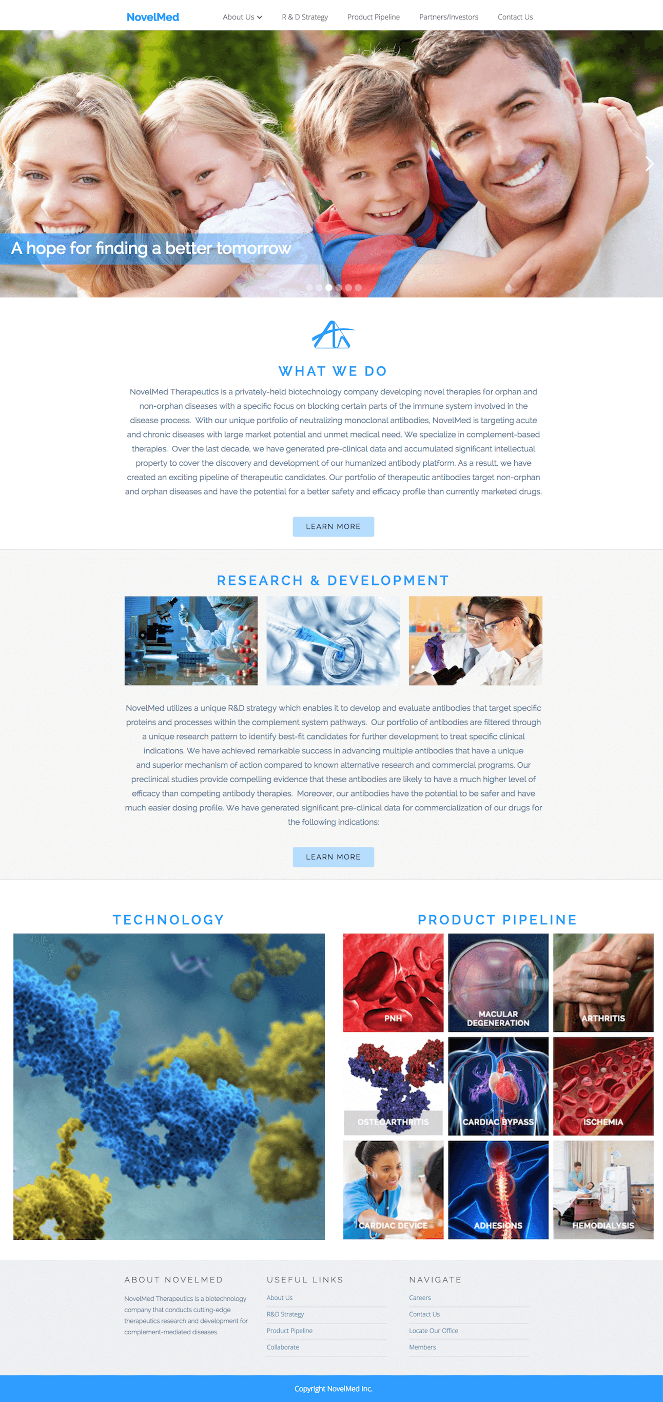 Image of responsive web design case study by Quetra Creative for NovelMed Full Website Browser
