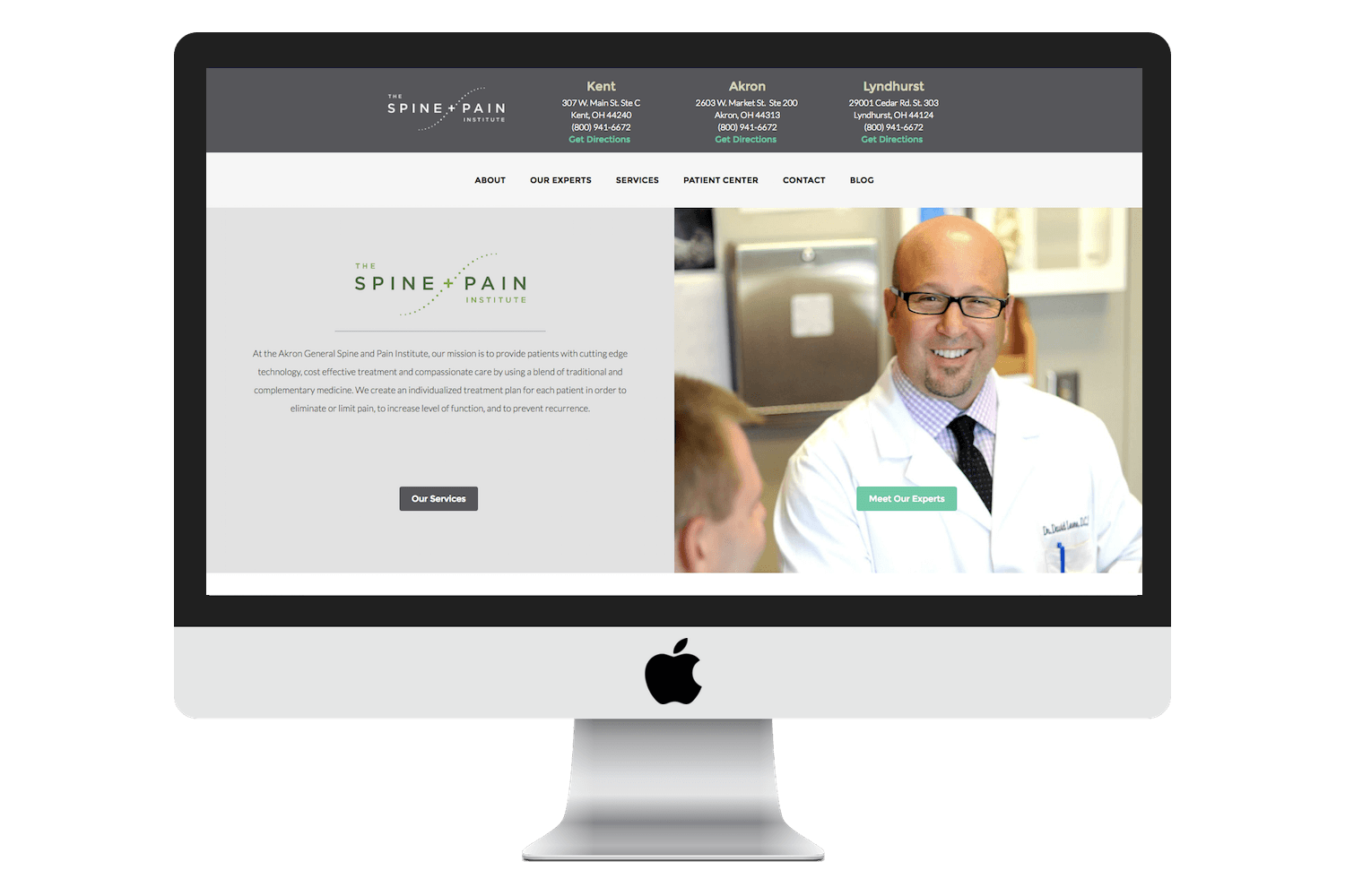 Image of responsive web design case study by Quetra Creative for Spine Pain iMac