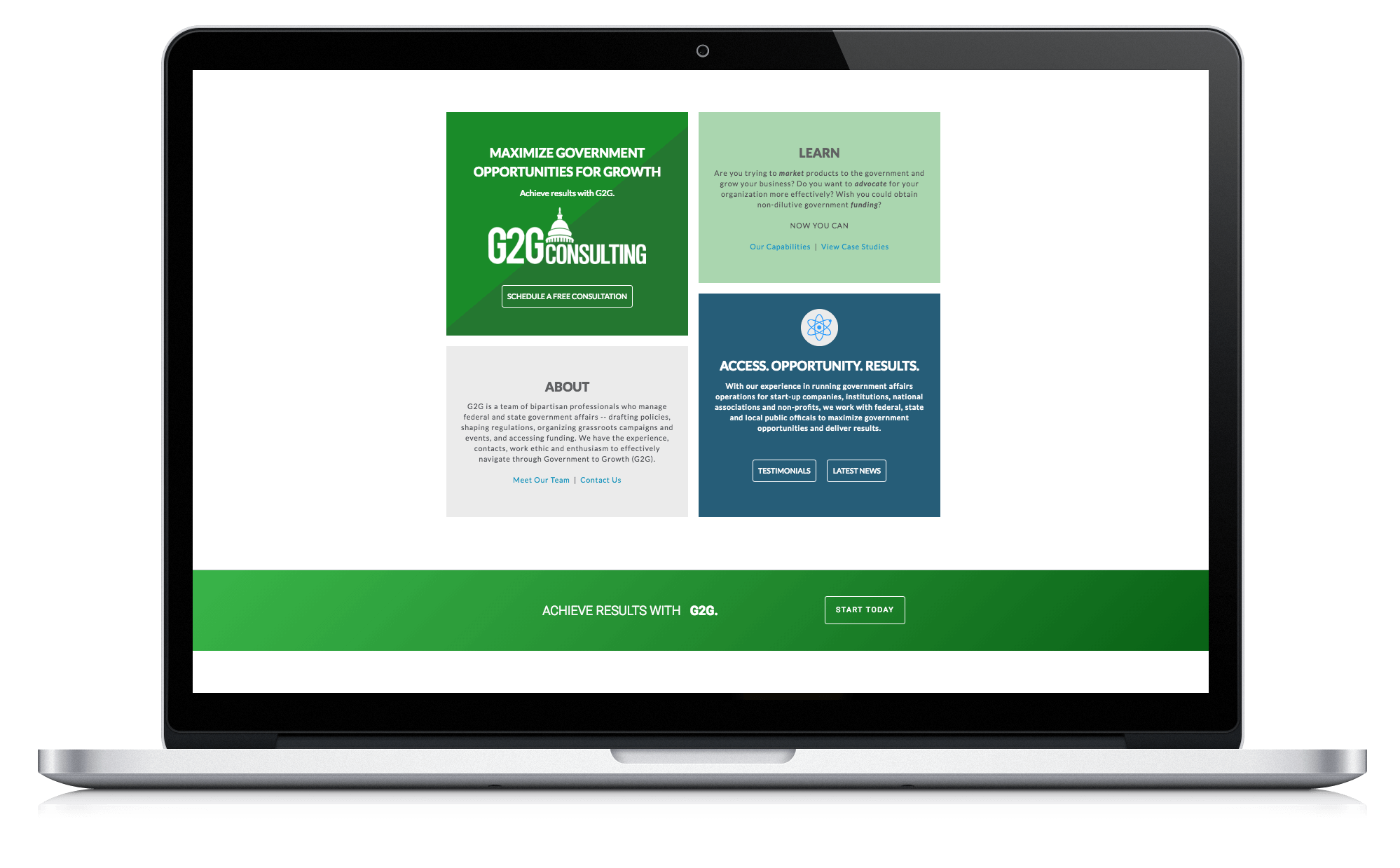 Image of responsive web design case study by Quetra Creative for G2G Consulting on a Macbook Pro