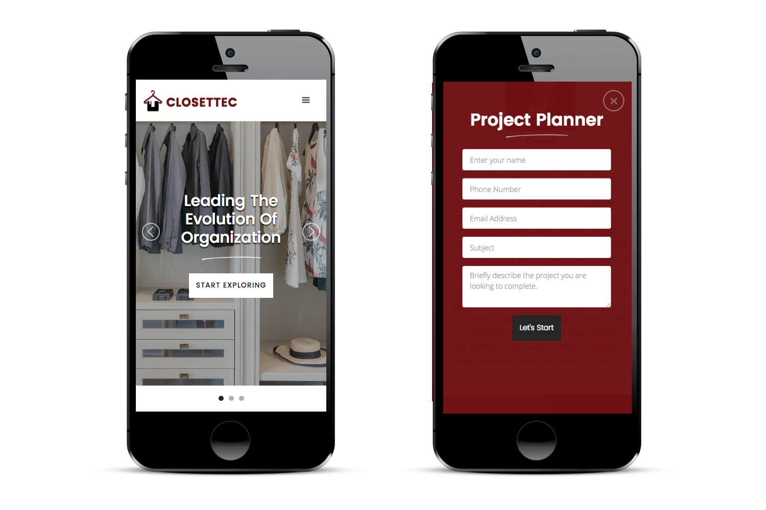 Image of responsive web design case study by Quetra Creative for Closettec mobile device