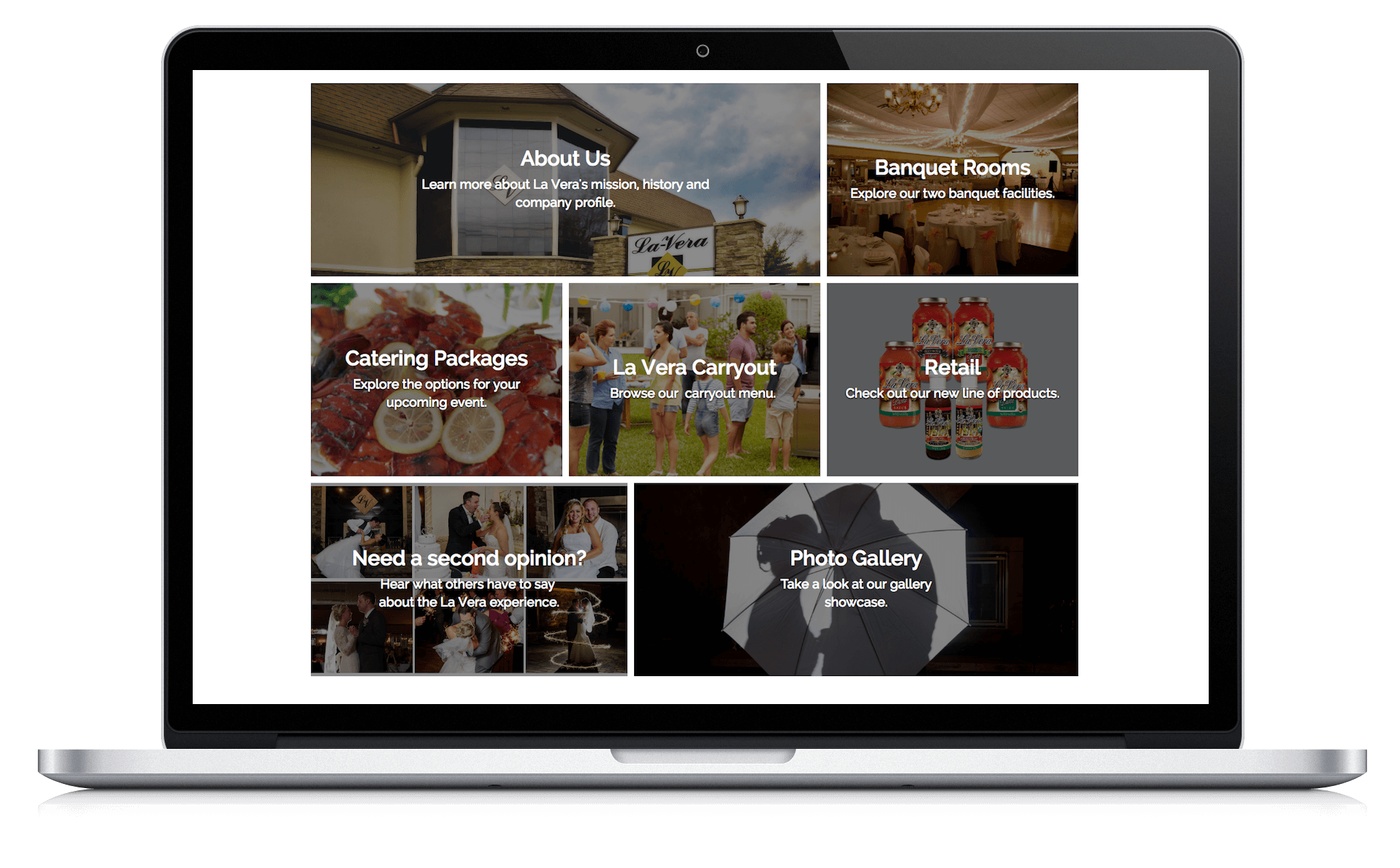 Image of responsive web design case study by Quetra Creative for La Vera Party Center Macbook Pro