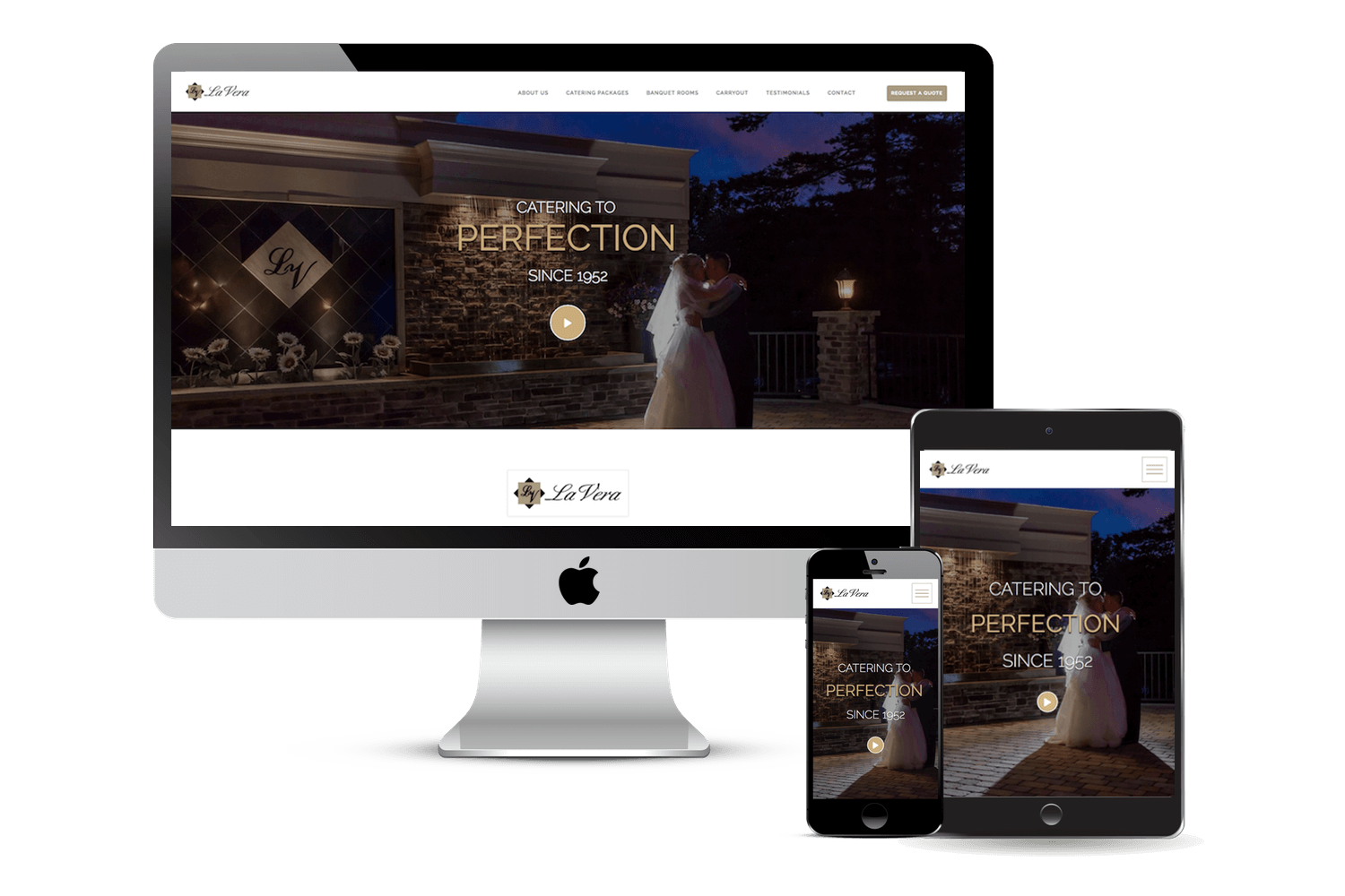Image of responsive web design case study by Quetra Creative for La Vera Party Center Ecosystem