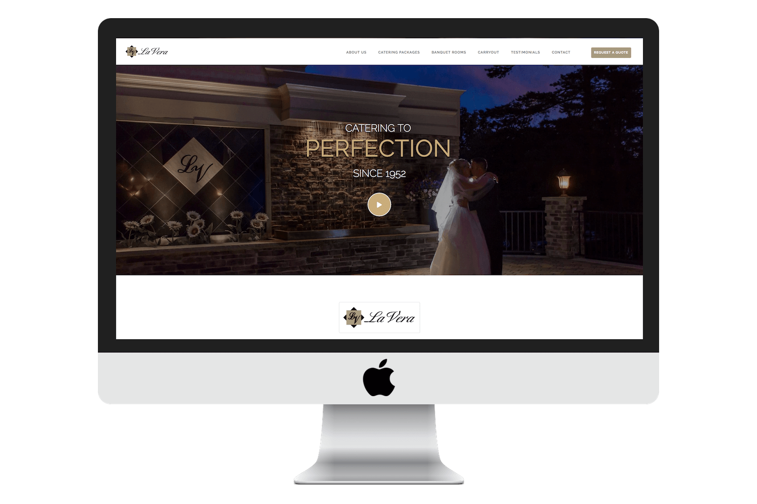 Image of responsive web design case study by Quetra Creative for La Ver Party Center iMac Mock Up