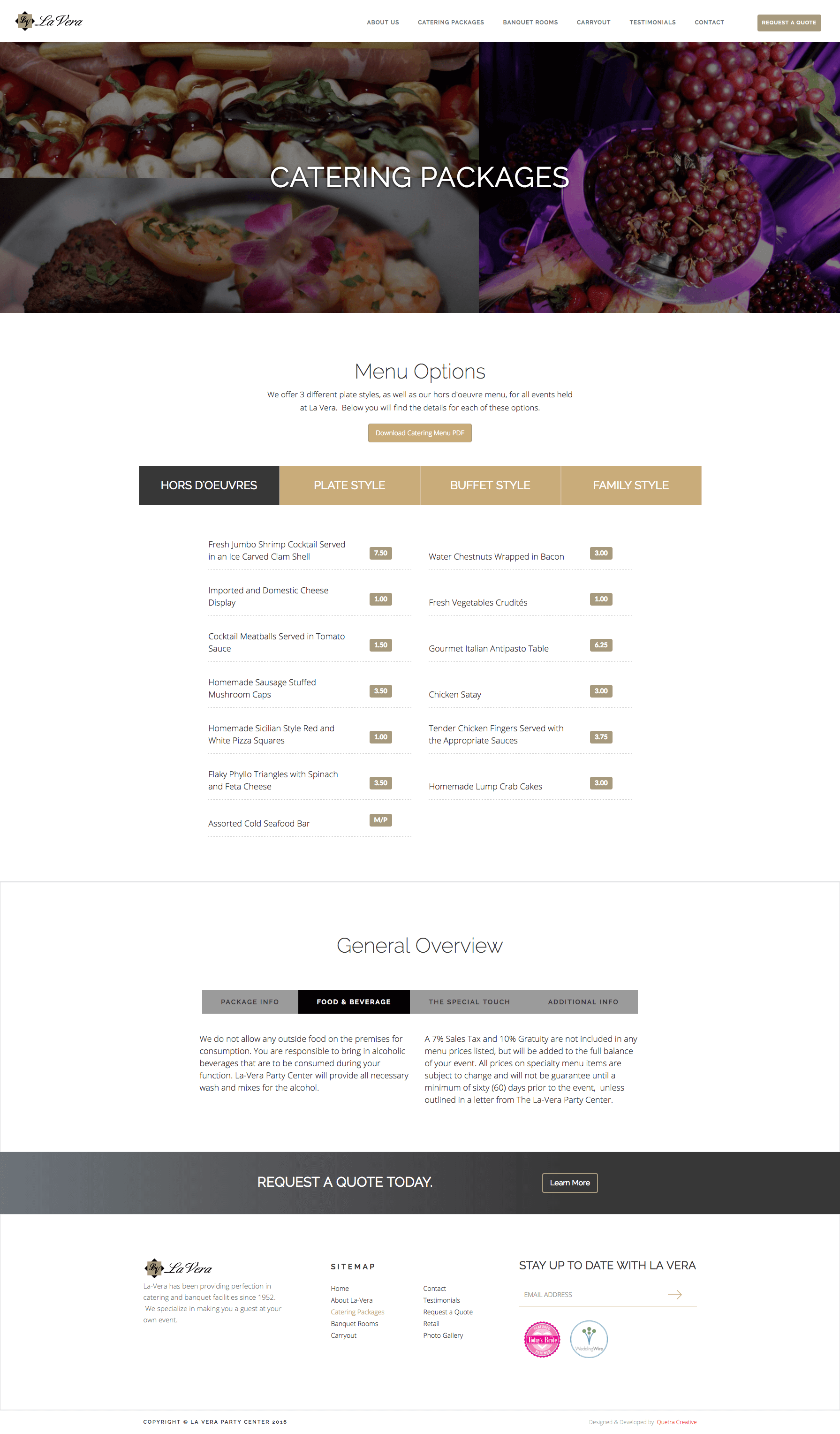 Image of responsive web design case study by Quetra Creative for La Vera Party Center Menu