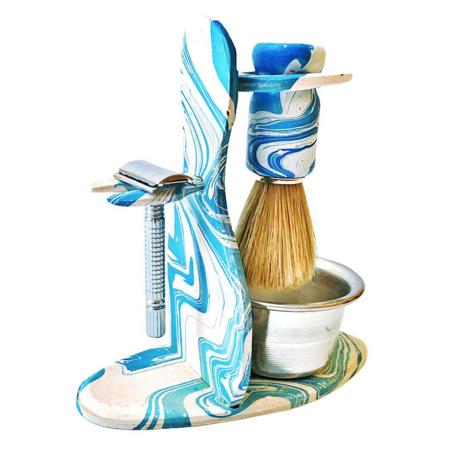 mavi beyaz tıraş seti