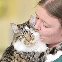Abbey Vets Nurse with happy Cat