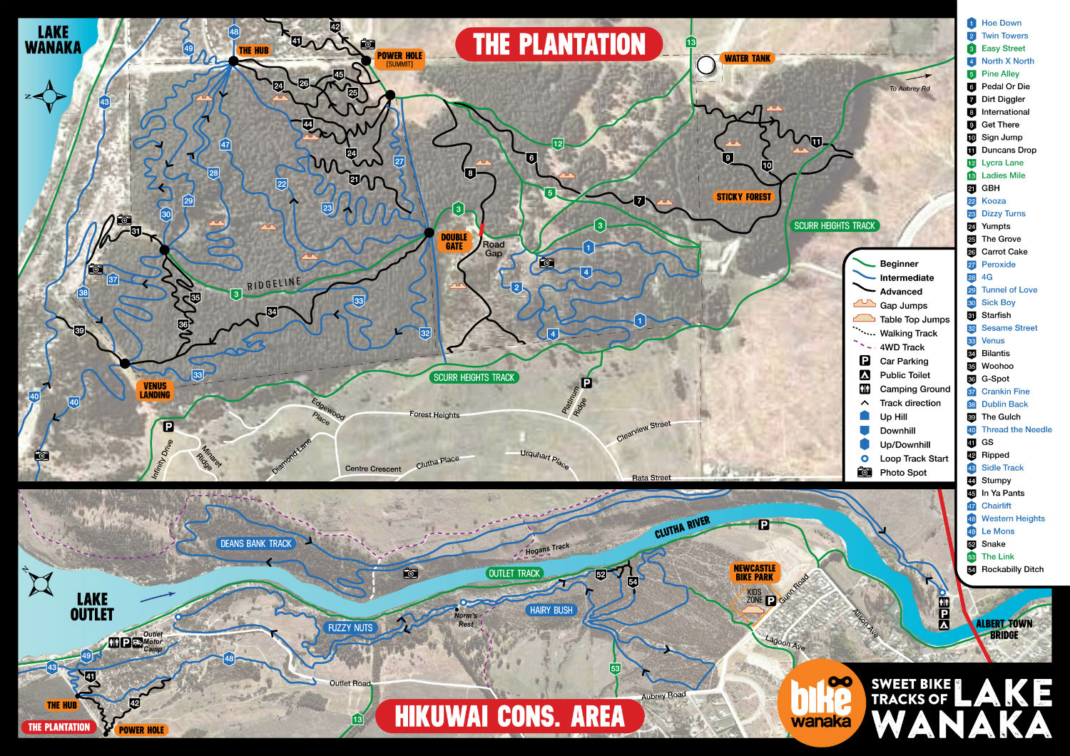 bike wanaka sticky forest mountain bike trail map