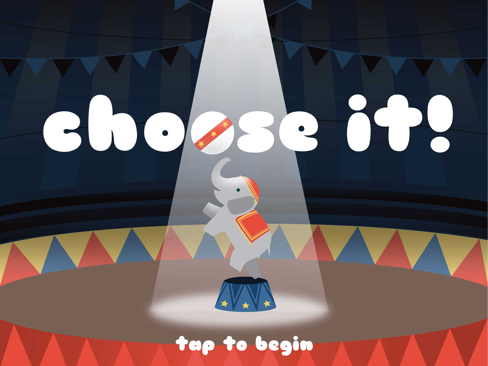 iPad screen thumbnail of educational game, Choose it!