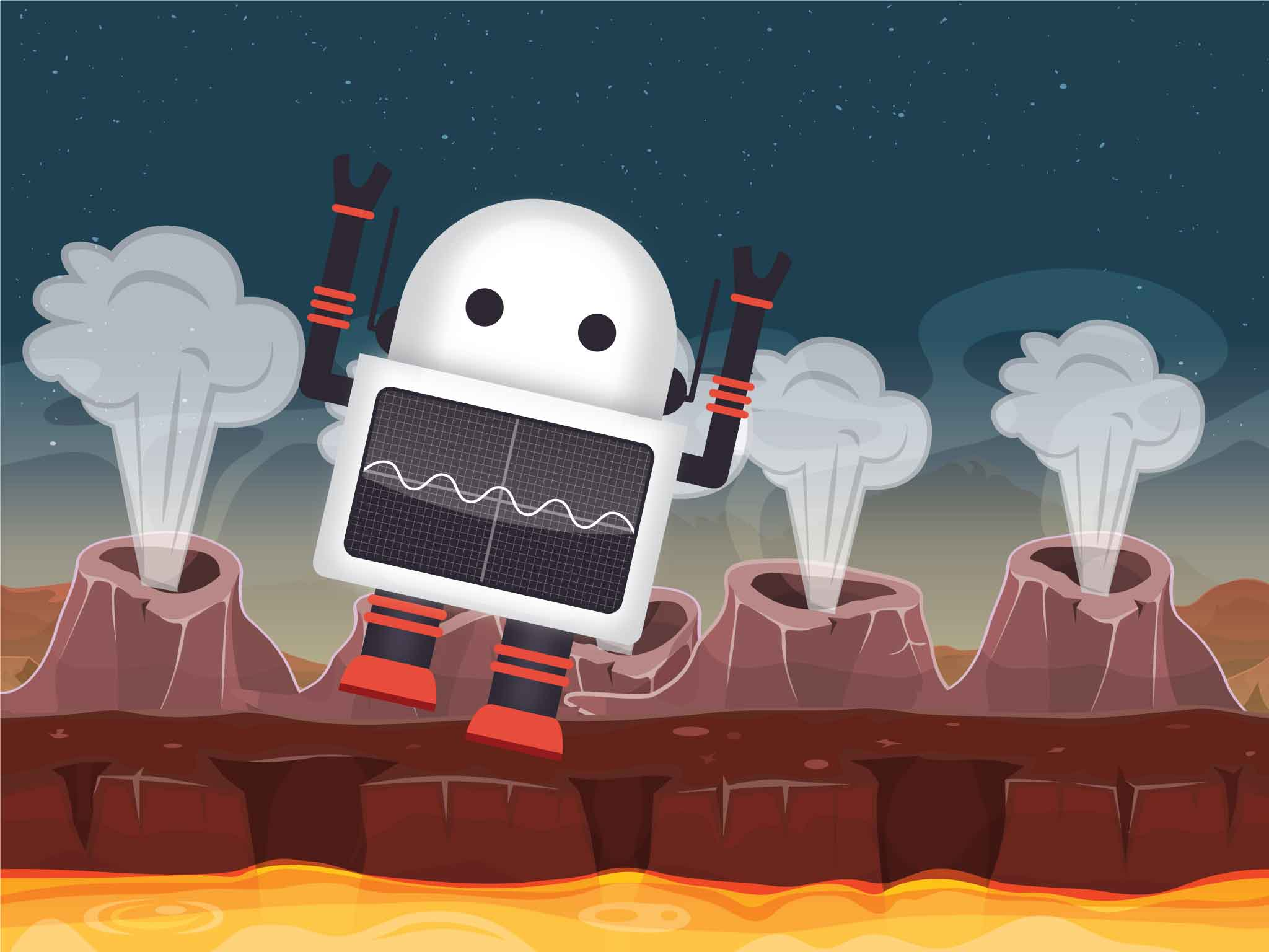 Screen 4: Robot runs off the screen as volcanic jets erupt, signaling critter arrival.
