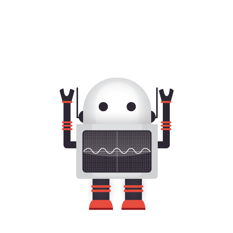 Illustration of a short robot.