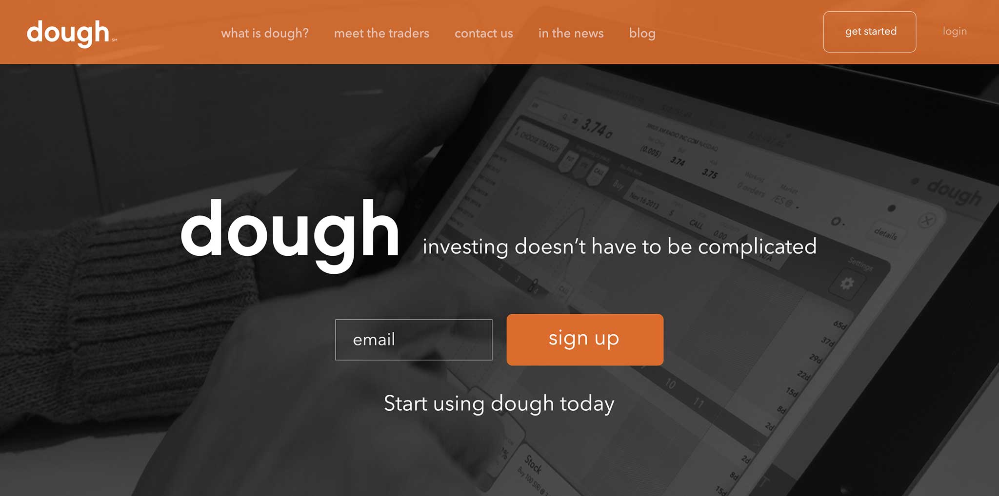 Screenshot of dough.com's homepage.
