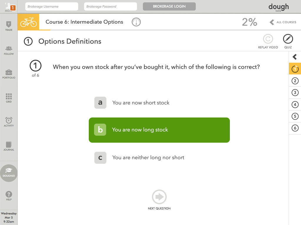 Screenshot of dough 'Options Definitions' follow up quiz.