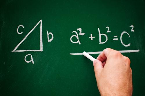 Pythagoras on blackboard