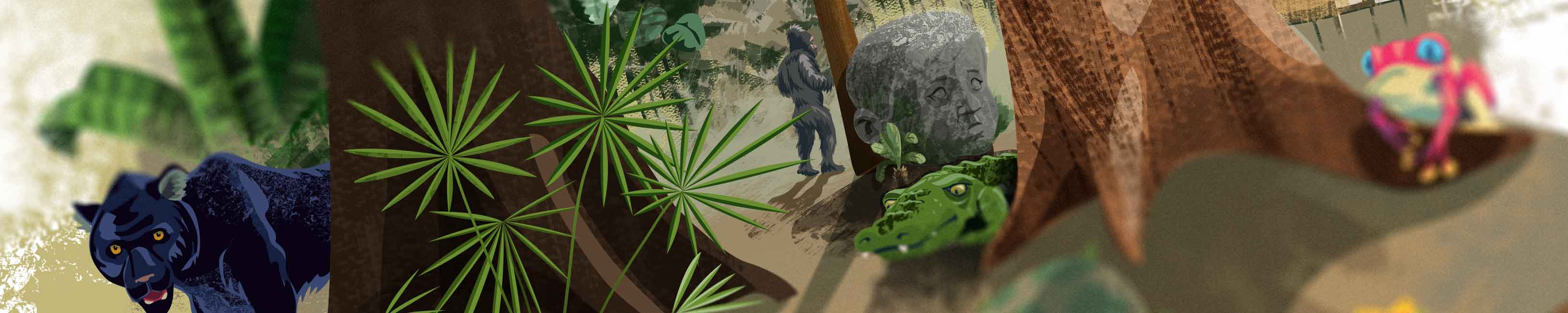 the jungle is a busy place with ruins, crocodiles, panthers and more