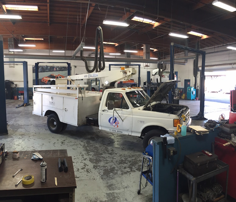 business fleet service truck getting repair