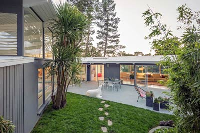 Mid-Century Modern front and pool house