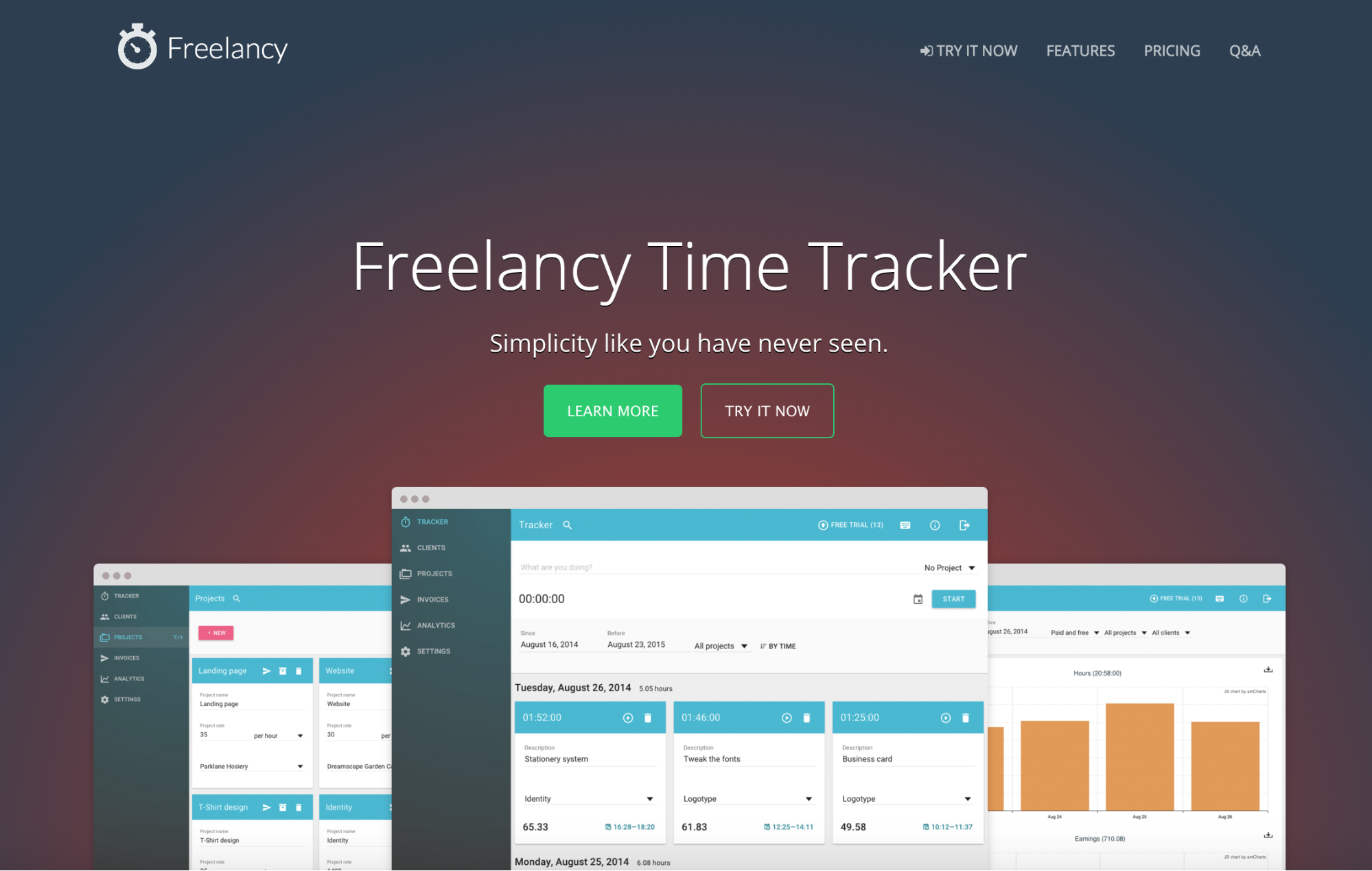 Freelancy app homepage