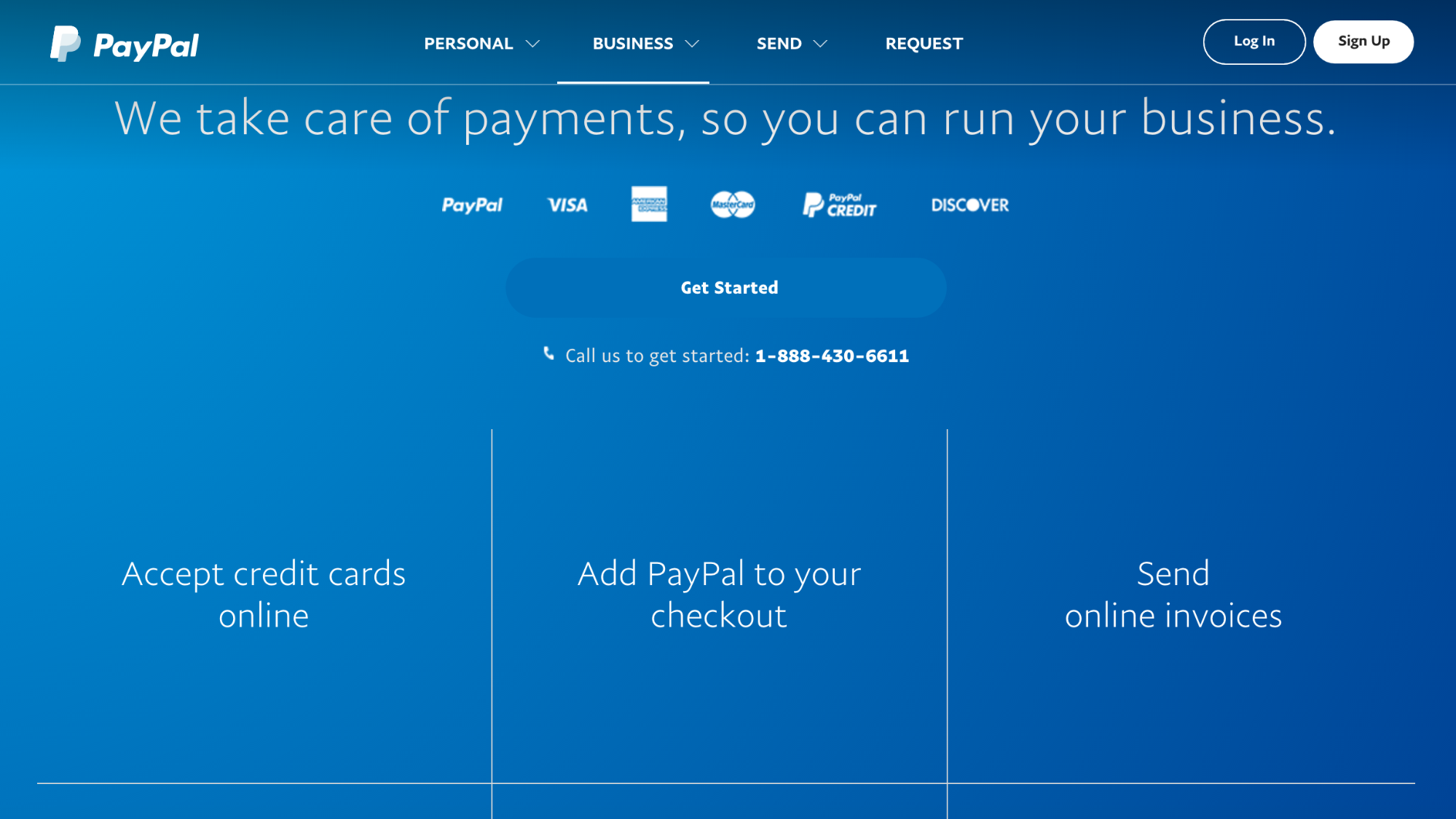 PayPal for business landing page
