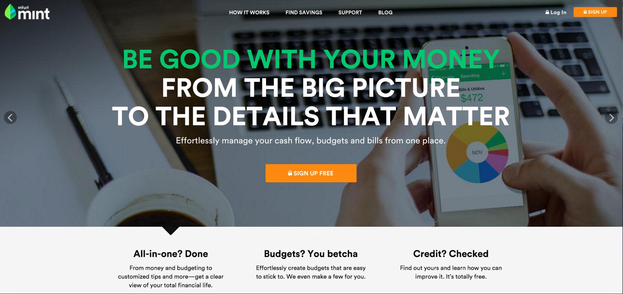 Mint app homepage