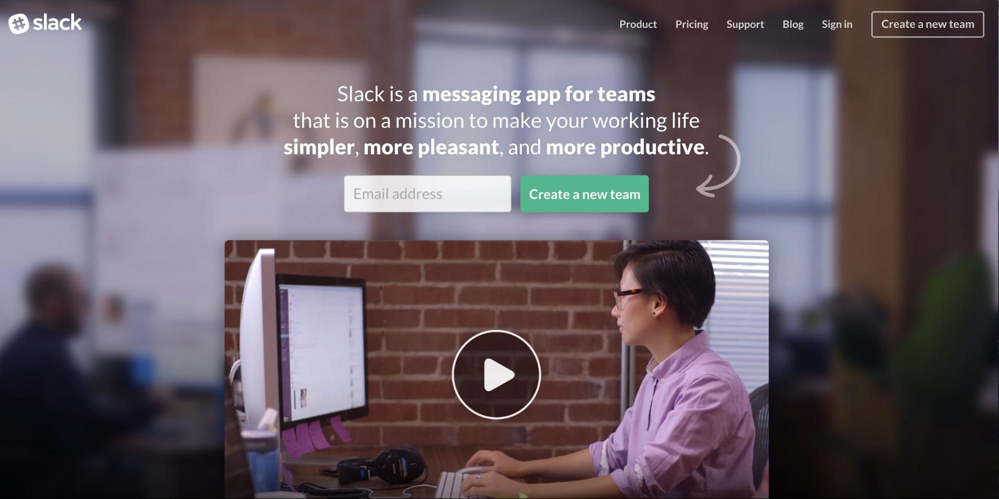 Slack app homepage
