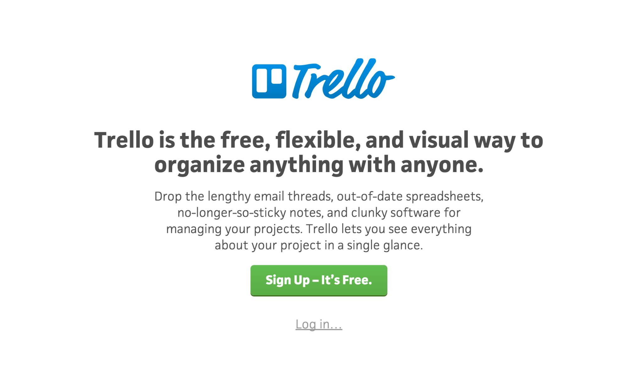 Trello homepage