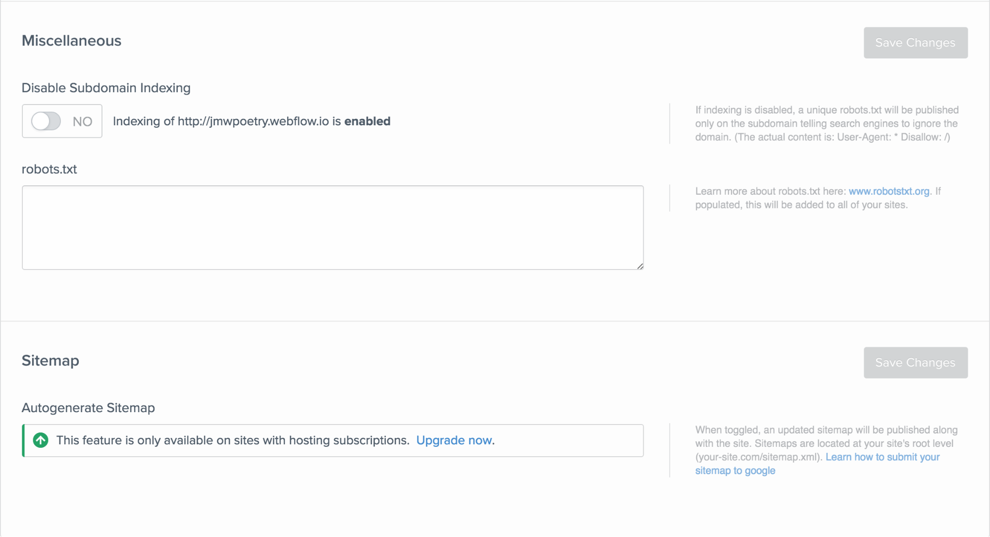 You can disable subdomain indexing in your Site Settings