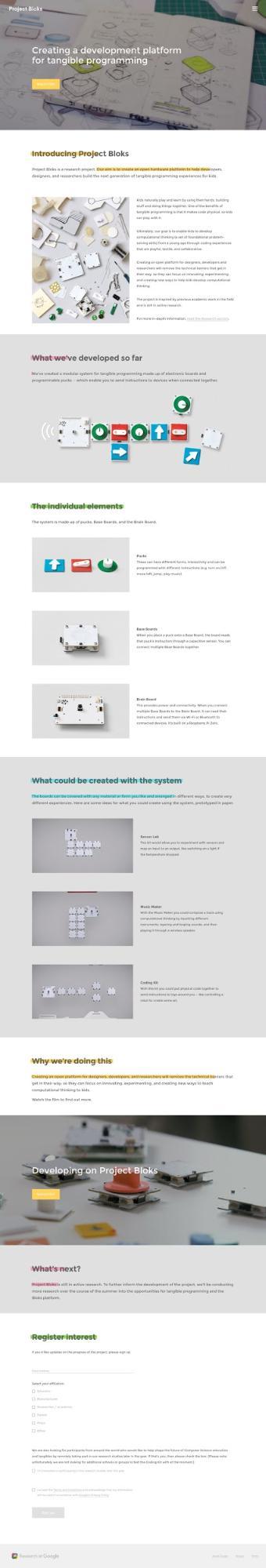 Google's Project Bloks website