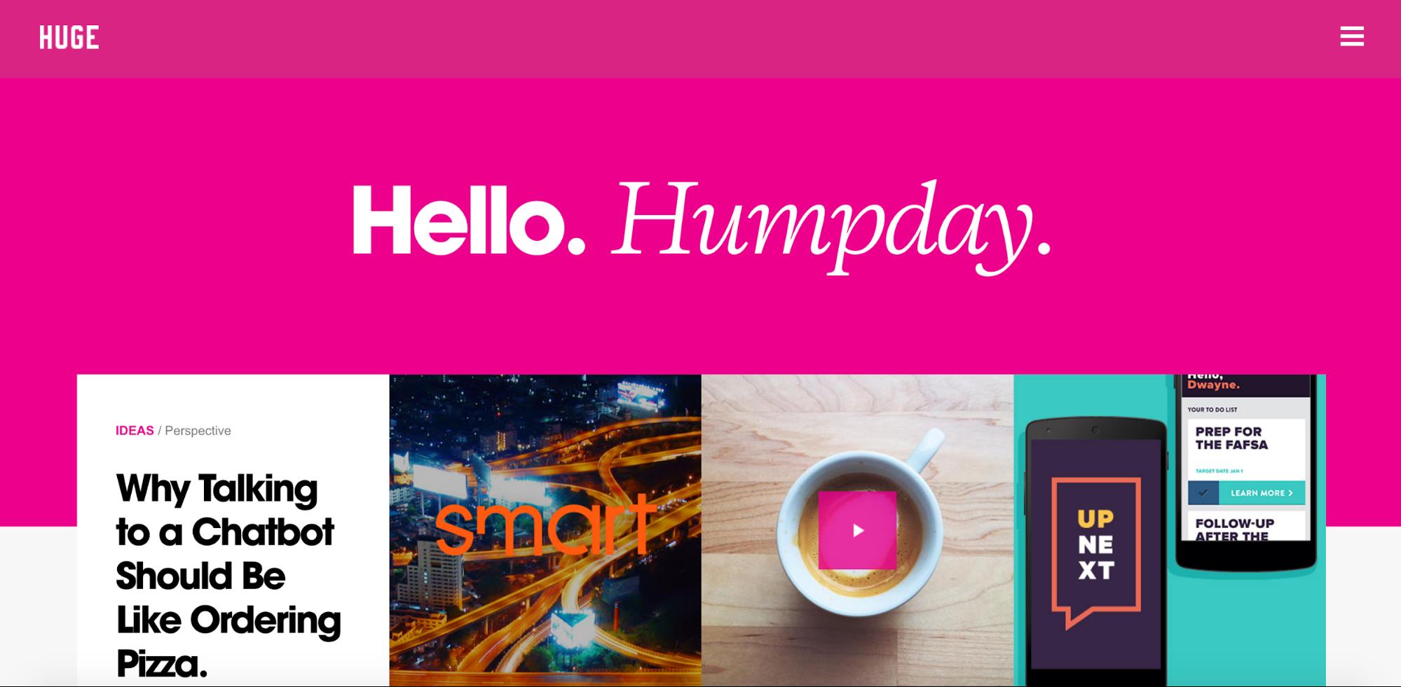 Huge Inc's website using bright pink
