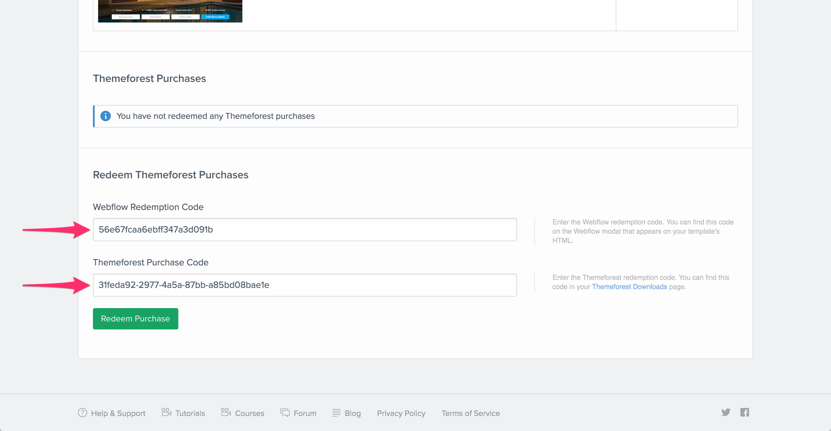 Redeem ThemeForest Template Purchase Webflow University - Privacy page template