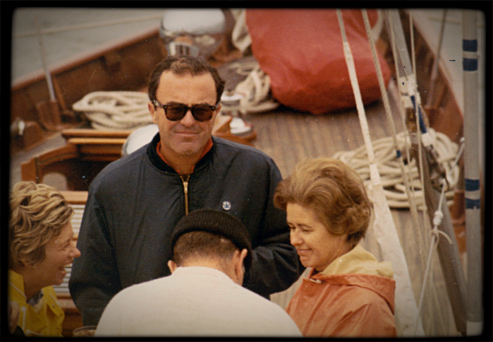 Photo of Brown and Janet on board sailboat Windigo.