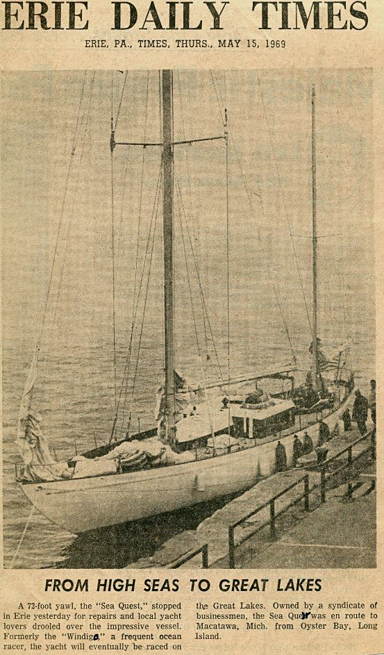 Newspaper photo of sailboat Windigo. Erie Daily Times May-15-1969